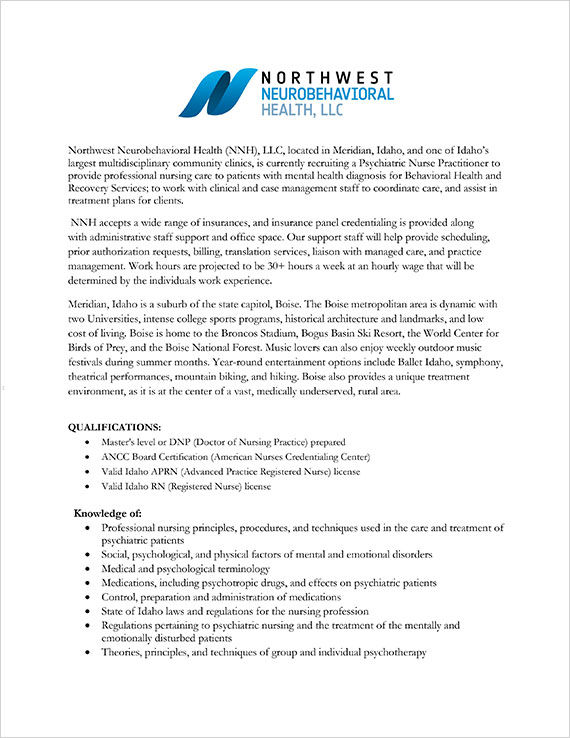 Psychiatric Nurse Practitioner Job Posting